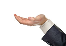 Male open hand on white Stock Images