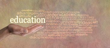 Words associated with education Word Cloud Stock Photography