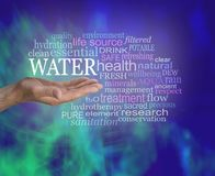 Life Giving Water Word Tag Cloud. Male open palm hand with the word WATER floating above surrounded by a relevant word cloud against a glue green modern abstract stock photos
