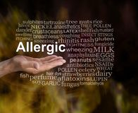 What are you Allergic to word cloud. Male open palm with the word ALLERGIC floating above surrounded by a relevant word cloud against a dark gold and brown royalty free stock image