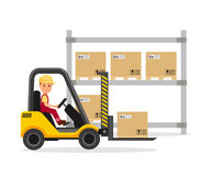 Male operator working on the forklift. Warehouse. Unloading, loading, storage and delivery of cargo. Vector Illustration Stock Image