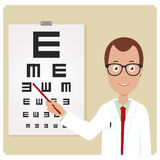 Male ophthalmologist. An ophthalmologist examining a patient using the tumbling e eye chart Royalty Free Stock Image
