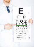 Male ophthalmologist with eye chart Royalty Free Stock Photography