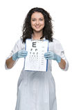 Male ophthalmologist with eye chart. Healthcare, medicine and vision concept - male ophthalmologist with eye chart isolated on white background Stock Photo