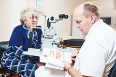 Male ophthalmologist or optometrist at work Stock Photography
