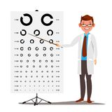 Male Ophthalmology Vector. Sight, Eyesight. Optical Examination. Doctor And Eye Test Chart In Clinic. Ophthalmologist Stock Photos
