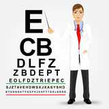 Male optician pointing to chart Stock Image