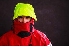 Male outdoorsman with covered face Royalty Free Stock Photography