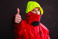 Male outdoorsman with covered face Royalty Free Stock Photo