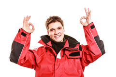 Male outdoorsman making gestures Royalty Free Stock Photography