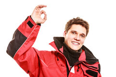 Male outdoorsman making gestures Stock Photography