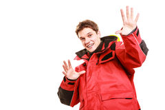 Male outdoorsman making gestures Royalty Free Stock Photos