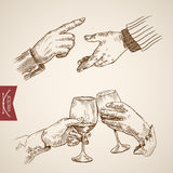 Male outstretched extended hand clink engraving vintage vector Royalty Free Stock Image