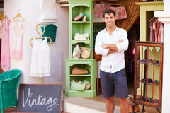 Male Owner Of Fashion Store Standing Outside Shop Royalty Free Stock Photography