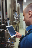Male owner using digital tablet at brewery Royalty Free Stock Images