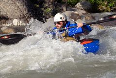 Male Paddler in Packraft on McCarthy Creek Stock Photo