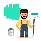 Male painter paints the wall. The isolated character of a man with a roller and a bucket of paint on a white background Stock Photography