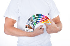 Male Painter Pointing On Swatch Book Royalty Free Stock Photos