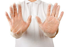 Male palms in disposable gloves Royalty Free Stock Photography