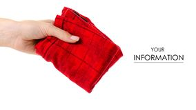 Male panties in hand pattern. On white background isolation royalty free stock image