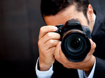 Male paparazzi Royalty Free Stock Photo
