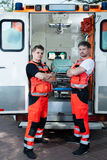 Male paramedics outside the ambulance Royalty Free Stock Photo