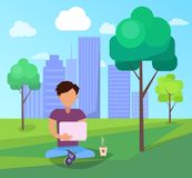 Male in Park Using Modern Computer Technologies stock illustration