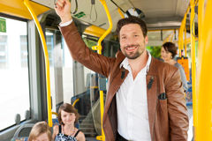 Male Passenger In A Bus Stock Photo
