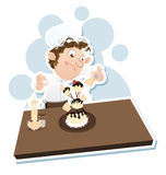 Male pastry chef. Cartoon male pastry chef decorating strange shape cake Stock Images