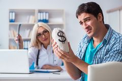 The male patient angry at expensive healthcare bill. Male patient angry at expensive healthcare bill Stock Photo