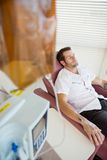 Male Patient Receiving Chemotherapy stock image