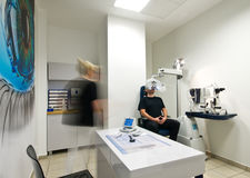 Patient in optometrist office for eye examination Stock Photography