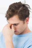 Male patient suffering from headache Royalty Free Stock Photos