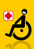 Male patient in a wheelchair graphic Royalty Free Stock Image