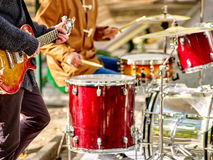 Male performance of street musicians Royalty Free Stock Photo