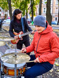 Male performance of street musicians Royalty Free Stock Photography