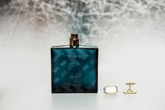 Male perfume with cuff on grey royalty free stock photos