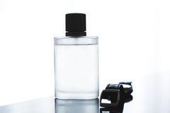 Male perfume and watches Royalty Free Stock Photos