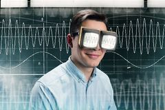 Male person in glasses with radio waves