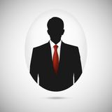 Male person silhouette. Profile picture whith red Royalty Free Stock Photo