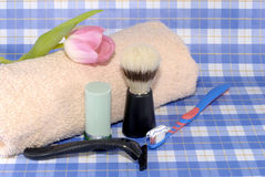 Male personal hygiene tools. Razor, soap, tooth brush, towel, brush.  Daily routine, grooming concept Stock Photography