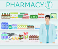 Male pharmacist at the counter in a pharmacy opposite the shelves with medicines. Vector illustration Stock Photos
