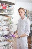 Male Pharmacist Working at Drugstore Royalty Free Stock Photos