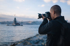 Male photographer in Istanbul, Turkey Royalty Free Stock Images