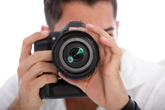 Male photographer taking a photograph Stock Photography