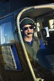 Male pilot in helicopter. Royalty Free Stock Photography