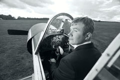 Male pilot  small plane Stock Image