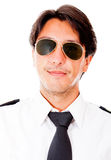 Male pilot with sunglasses Royalty Free Stock Image