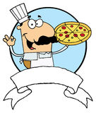 Male pizza chef with his perfect pie Royalty Free Stock Photography