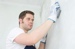 Male plasterer Stock Photo